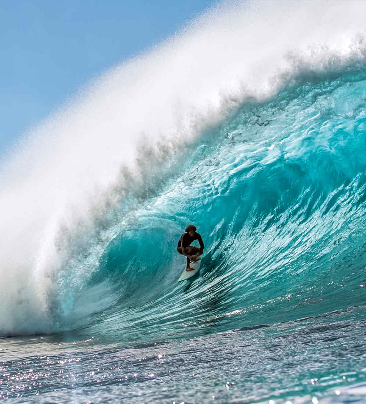 A surfer in the barrel of a large, sunlit wave.